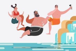 Teenage boys and girls jumping waterfalls