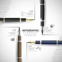 elementos de infográfico e informações de escrita de caneta-tinteiro