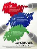 markers scribbling infographic elements