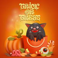 Happy Halloween card with bat inside bag
