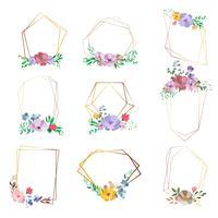 Reihe von floralen Rahmen mit Platz für Text