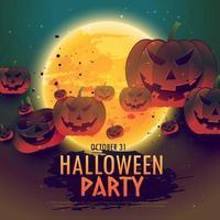 Halloween-partijachtergrond met pompoenen en maan