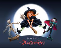 Cartão de feliz dia das bruxas com bruxa na vassoura, múmia e vampiro