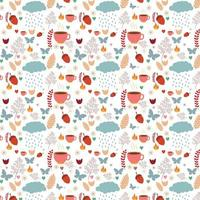 autumn seamless pattern with mugs, rain clouds and other items