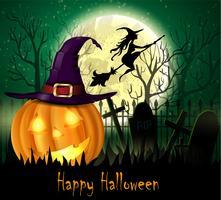 Fondo espeluznante de Halloween con calabaza y bruja delante de la luna