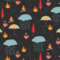 autumn pattern with rain clouds, umbrellas and other items