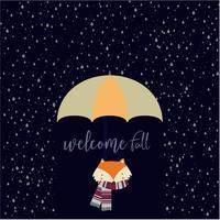 Välkommen höstkort med räv och regn