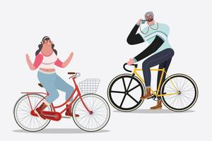 Men and Woman riding a bike vector