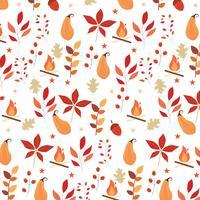 Herbst nahtlose Muster mit Laub, Feuer und anderen Elementen