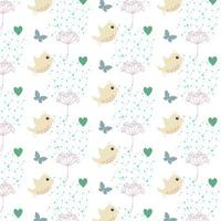 bird pattern with hearts, butterflies and foliage
