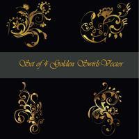 Set di 4 angoli decorativi dorati