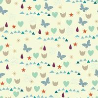 autumn pattern with drops, hearts, butterflies and other elements