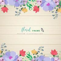 floral frame borders on wooden background