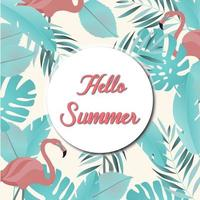 summer pattern with leaves and pink flamingos