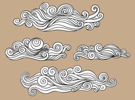Mönster av svartvit molngarneringillustration från vågen