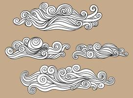 Pattern of black and white clouds decoration illustration from wave