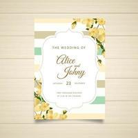 Design de convite de casamento listrado com flores vetor