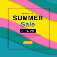 Print  Colorful Abstract Wave background summer sale poster