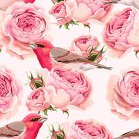 Padrão sem emenda de rosas e pássaros inglês