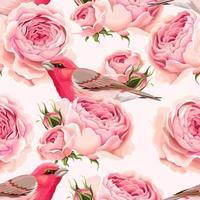 Modello senza cuciture inglese di rose e uccelli