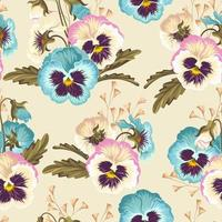 Vintage pansy seamless background