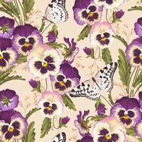 Pensée Vintage fond sans couture avec des papillons