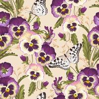 Fundo sem emenda do amor-perfeito do vintage com borboletas