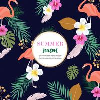 summer background design with pink flamingos and colorful foliage