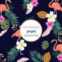 diseño de fondo de verano con flamencos rosados y follaje colorido