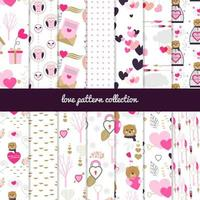 Love themed patterns collection vector