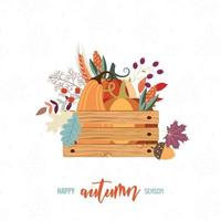 Harvest card with crate of autumn items vector