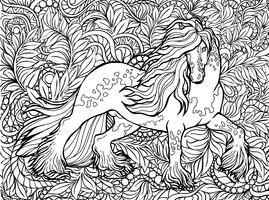 Enhörning och blommor. Magiska djur. Vektorkonst. Svartvitt, svartvitt. Målarboksidor för vuxna och barn.