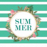 Marco circular de verano con follaje