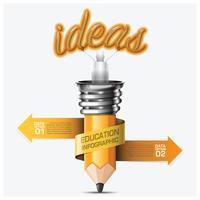 Infographie avec flèche en spirale, crayon et ampoule