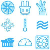 Icone della linea di riscaldamento e raffreddamento