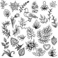 Hand drawn Abstract scandinavian nature elements