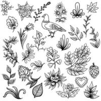Hand drawn Abstract scandinavian nature elements