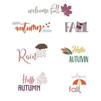 Autumn greeting card elements with quotes