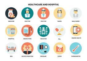 Sjukhus och sjukvård ikoner set