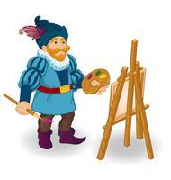 Pittura dell'artista su cavalletto