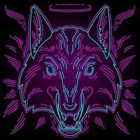 Neon wolf print for t-shirts