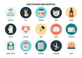 Ensemble d'icônes d'hôpital et de soins de santé