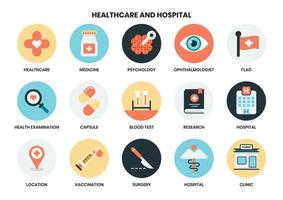 Hospital and Healthcare icons vector