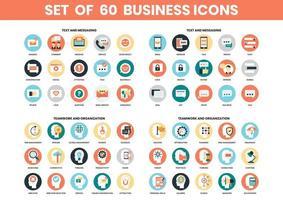 Conjunto de iconos de texto, trabajo en equipo y organización