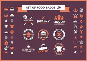 Set de badges restaurant et nourriture