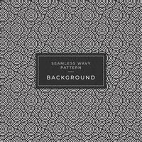 Geometric seamless monochrome repeating pattern with rounded wavy lines vector