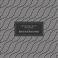 Geometric seamless monochrome repeating pattern with wavy lines vector