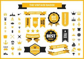 Distintivo retrô vintage dourado