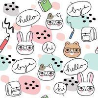 Cartoon cute back to school animals seamless pattern vector. vector