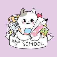 Cartoon schattig terug naar school kat en stationaire vector.